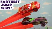 Hot Wheels Farthest Wins with Disney Pixar Cars 3 Lightning McQueen vs Marvel Avengers 4 Endgame & DC Comics Superheroes with Transformers Bumblebee and Frozen Elsa