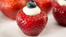 How to Make Patriotic Cheesecake Stuffed Strawberries