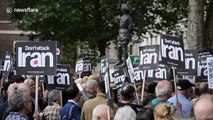 Activists protest outside Downing Street in London against any possible war with Iran