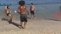 Marcelo jongle avec des inconnus sur la plage