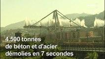 Pont de Gênes: les dernières grandes piles détruites à l'explosif