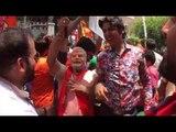 Celebrations outside BJP office at Malleshwaram in Bengaluru