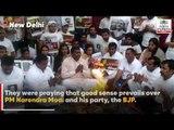 'Give Modiji good sense', Youth Congress workers pray at a havan in Delhi