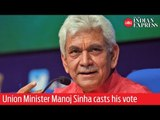 Phase 7: Union Minister Manoj Sinha casts his vote