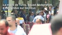 Policiers et secouristes sur le lieu de l'attentat suicide à Tunis