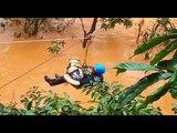 Watch: Rock climber ziplines 2-month-old baby across fast flowing water in Kodagu