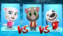 My Talking Angela vs Frosty Tom vs My Talking Hank — Talking Tom Gold Run — Cute Puppy and Cats