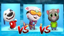 My Talking Hank vs Cyber Angela vs My Talking Tom — Talking Tom Gold Run — Cute Puppy and Cats