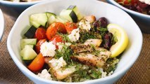 How to Make Greek Cauliflower Rice Bowls with Grilled Chicken