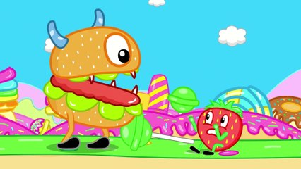Funny Cartoon HAMBURGER MONSTER IN CANDY LAND Puppy Dog Family