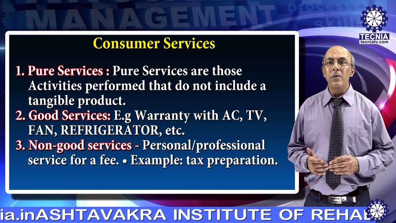 Dr. Arun Bhatia || CLASSIFICATION OF SERVICES & MARKETING IMPLICATIONS || MBA || TIAS || TECNIA TV