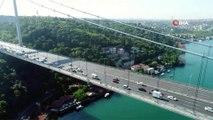 FSM Köprüsü'nde sabah saatlerinde oluşan trafik yoğunluğu havadan görüntülendi