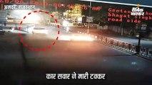 नशे में कार चालक ने सड़क पर ठेली-रिक्शों को मारी टक्कर