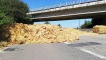 Philippeville: des ballots de paille sur la route