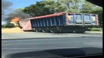 Templeuve: camion en feu sur l'A17 28/06/2019
