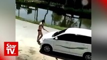 Underwear-clad man challenges Sibu motorists to fight