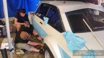 Customisation de la voiture d'Arthur Kerkhov au rallye d'Ypres