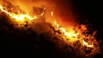 Xã Xuân Hồng, huyện Nghi Xuân, Hà Tĩnh tối 28/06/2019: Hiện trường vụ cháy khu vực rừng thông tiểu khu 92A trên núi Hồng Lĩnh nhìn từ flycam, di dời khẩn cấp 100 hộ dân...