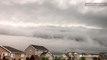 Monster shelf cloud envelops city