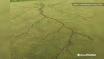 Lightning strike sears golf course with branched burn scars