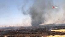 Mardin'de anız yangını...Yangın sonrası rüzgarın etkisiyle hortum oluştu