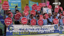 South Koreans hold rallies as Trump visits Korean Peninsula
