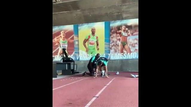 Cristiano Ronaldo training sprints form with fellow countryman Francis Obikwelu