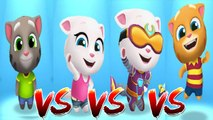My Talking Tom vs My Talking Angela vs Cyber Angela vs My Talking Ginger — Talking Tom Gold Run — Cute Puppy and Cats