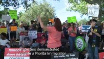 Dozens gather for protest outside a Florida ICE facility