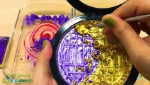 PURPLE vs GOLD ! Mixing Makeup Eyeshadow into Clear Slime! Special Series #66 Satisfying Slime