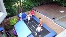 Des ados font décoller leur pote à 10 mètres de haut sur le trampoline du jardin !
