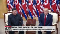 Presidential office says U.S. briefed Seoul on DMZ talks between Kim-Trump