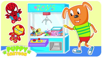 Funny Cartoon  Play Claw Machine Winning Superhero Toys  Puppy Dog Family