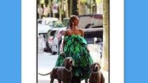 Céline Dion pose dans la rue avec une robe inspirée d'une couette de lit