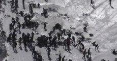 Enorme crash collectif aux Deux Alpes lors d'une course de vélo sur glace
