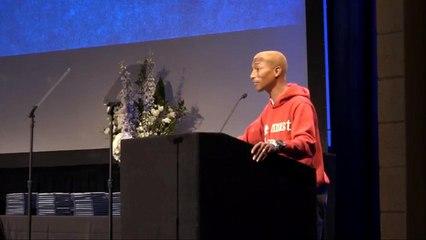 Pharrell guarantees internships for 100+ Harlem students in commencement speech