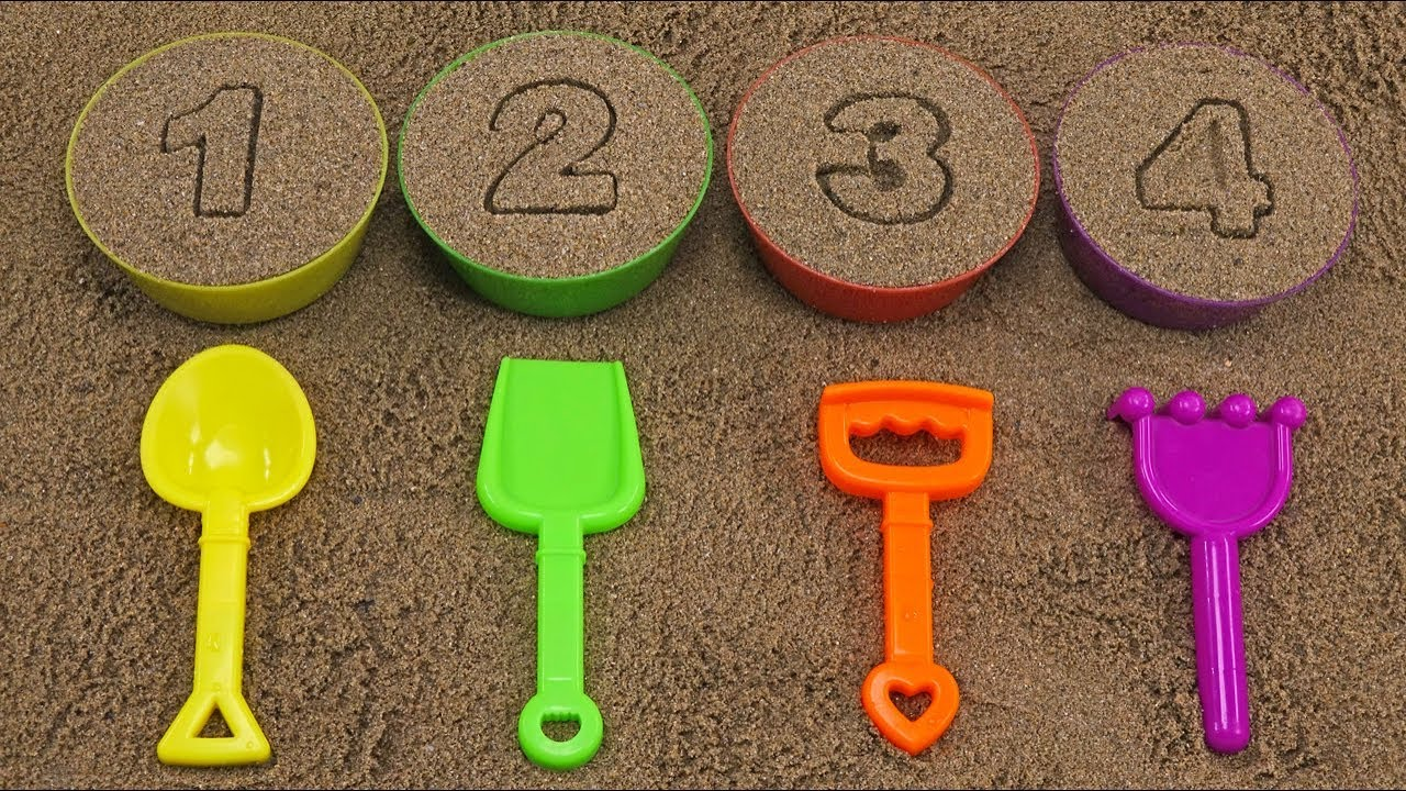 LEARN FRUIT NAMES COLORS NUMBERS SAND MOLDS COME OUT FROM NUMBER BOWLS