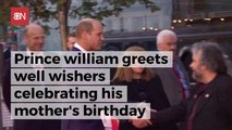 Prince William Meets With People Honoring His Late Mother