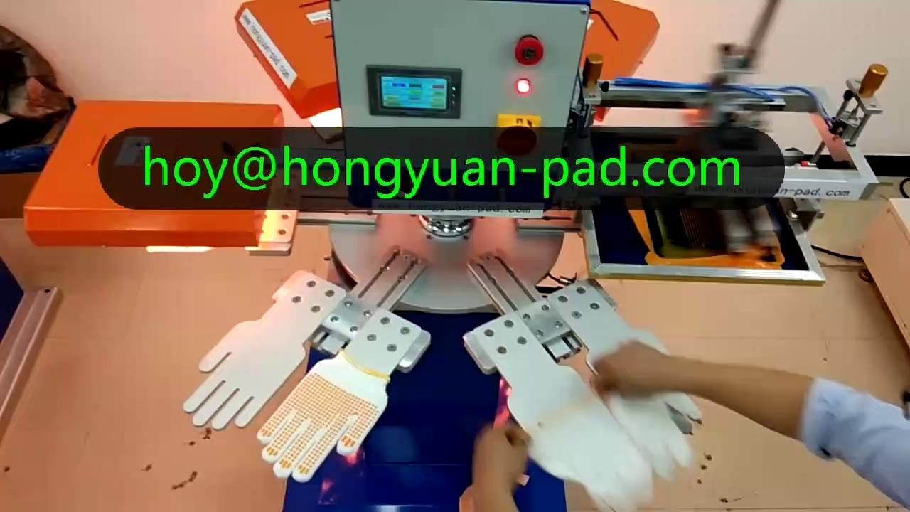 Non slip silicon dotting Gloves screen printing machine