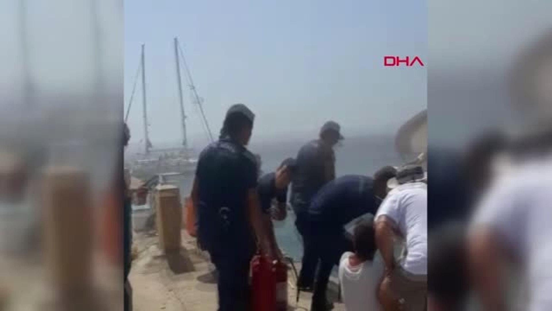 ÇANAKKALE Bozcaada yatta çıkan yangını Sahil Güvenlik ekipleri söndürdü
