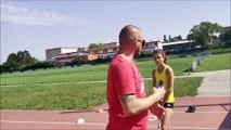 La marcheuse Elvina Carré à l'entraînement
