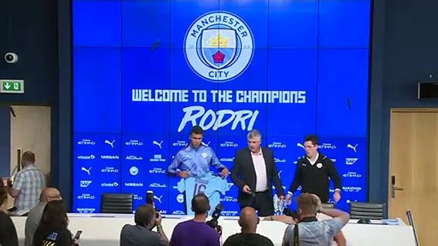 Rodri unveiled at Manchester City after club-record move