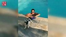 Hülya Avşar, sosyal medya hesabından havuza girdiği anların videosunu yayınladı