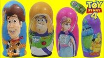 Disney Pixar TOY STORY 4 Nesting Matryoshka Dolls with Bo Peep, Buzz Lightyear - Woody