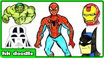 How To Draw Superheroes For Kids - Spiderman, Batman, Iron Man, Hulk and More Speed Drawings