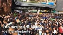 "Hong Kong: manifestation devant une gare ""chinoise"""