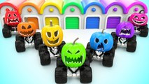 Monster Halloween Pumpkin Trucks Garage Toys 3D Learn Colors for Children Kids Vehicles Educational