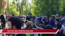 ODTÜ'de polis gazlı sıktı ağaç kesimi başladı