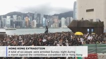 Hong Kong police arrest 6 at Kowloon march