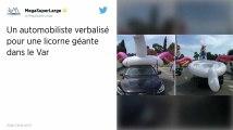 Une licorne gonflable sur le toit d'une voiture, le conducteur verbalisé